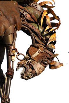 Steampunk horse art by John Lopez Sculpture Textile, Sculpture Metal, Horse Sculpture, Animal Sculptures, Arte Peculiar, 3d Fantasy, Found Object Art, Scrap Metal Art, Junk Art