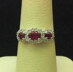 Three Stone Halo Style Ruby and Diamond Ring 14K White Gold