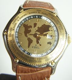 Ebel Watch  (Men's Pre-owned Voyager World Time 18k Gold & Stainless Steel GMT Automatic Watches)