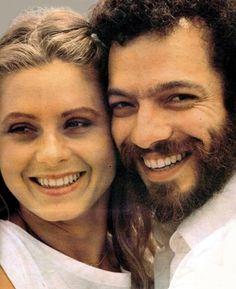 carlos augusto strazzer -morreu - na foto o ator e a atriz vera fischer - durante gravação da novela CORAÇÃO ALADO de janete clair - tv globo