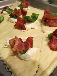 Bacon, cream cheese, jalapenos in a cresent roll... yummmm!