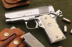 Bright Stainless Colt Officer Model 1911 in Colt 1911, 1911 Pistol, Fire Powers, Home Defense, Cool Guns, Guns And Ammo, Tactical Gear, Shotgun, 45 Acp