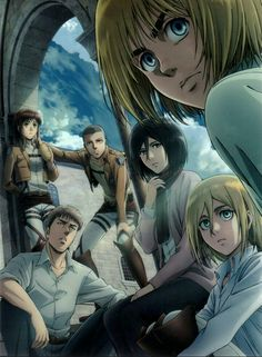 Sasha & Connie & Krista (Historia) & Mikasa & Armin & Jean