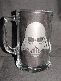 Star Wars Darth Vader Helmet Hand Etched on by TheLuckyRabbitFarm