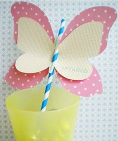 Decorated Straw #butterfly #pink #cute #diy #creative