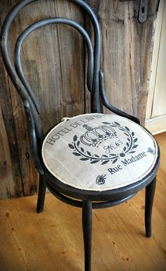 antique Thonet bent wood chair, seat with antique linen and French stencil burlap. €138.00, via Etsy.