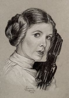Drawing of the late Carrie Fisher as Princess Leia by Laura Filipovics
