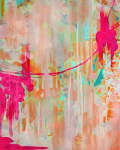 We love the vivid colors of this abstract art piece!  #walldecor