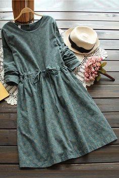 3 colors-- vintage print slim waist lacing long-sleeve o-neck one-piece dress drawstring full dress 2016 autumn _ {categoryName} - AliExpress Mobile Version - Trendy Dresses, Cute Dresses, Casual Dresses, Linen Dresses, One Piece Dress, Dress Up, Dress Long, Jw Mode, Hijab Fashion