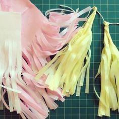 getting crafty at the studio today! #tissue #paper #tassel #garland #photoshoot #details #party #decor #pastels #white #pink #yellow #zorie #zoriestyle #zoriedesign #zoriestudio #zorieinvitations http://instagram.com/zoriedesign