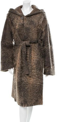 Grey Persian lamb fur reversible coat with dual slit pockets, hood, belt at waist and front button closures. Mantel, Fur Coat, Stylish, Sleeves, Sweaters, Jackets, Clothes, Tops, Women