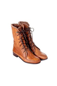 Lacing brown boots