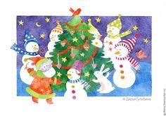 Darina Gulbina. Watercolors & lettering cards. Welcome instagram.com/daryagulbina  facebook.com/clubdaryagulbina  vk.com/clubdaryagulbina #watercolor #watercolors #newyear #happynewyear #christmascard #finearts #handdrawn #drawing #illustration #illustrations #card #cards #postcrossing #postcard #postcards #draw #handmade #crafts #craft #handycrafts #illustrator #calligraphy #lettering #handlettering #watercolorlettering #christmas #christmascards #cards #watercolor #snowman #santa #winter