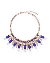 Cobalt blue and gold statement necklace
