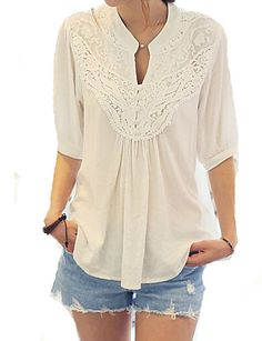 Women's Casual/Daily Cute Spring Blouse,Patchwork V Neck ½ Length Sleeve White Cotton Opaque 4875350 2016 – $8.99