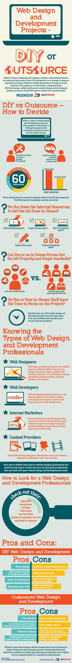 A great infographic on web design and development projects - DIY or Outsource? qSample offers a wide variety of great services, you can find out more at www.qsample.com/about-us