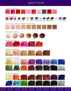 Younique's Color Chart.  To check out all Younique's other amazing products, or to place your order visit my site here.... www.youniqueproducts.com/lucystiles