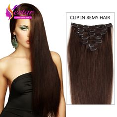 Clip In Human Hair Extensions Remy Virgin Brazilian Natural Color 6A Click On The Ima