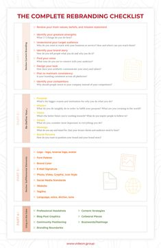The Complete Rebranding Checklist - business marketing ideas Branding Your Business, Personal Branding, Business Marketing, Creative Business, Social Media Marketing, Business Logos, Marketing Software, Marketing Ideas, Internet Marketing