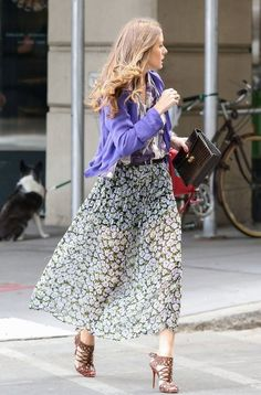 Sheer floral maxi skirt and neutral heels. From azita66.tumbler.com