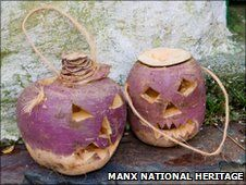 My dad used to always insist on doing these 'traditional' carved turnips, 'None of your fancy pumpkins in my day!'. Have you ever tried to carve a turnip? Pretty hard.