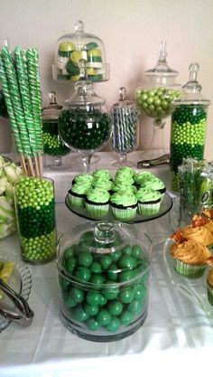 "My ""Shades of Green"" candy buffet"