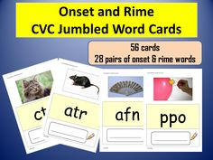 56 CVC Phonics Cards made up of 28 pairs of Onset and Rime Pictures and Words