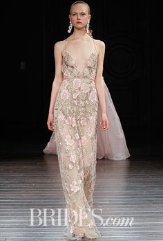 "Brides.com: . ""Kyoto"" halter sheath V-neck wedding dress with blush silk ribbon embroidery and gold bugle beads, Naeem Khan"