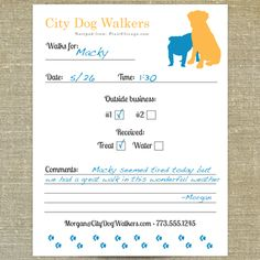For a Dog Walker Notepads | Pixie Chicago | Great for keeping track of post-op leash walks.
