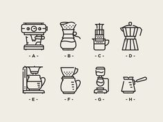 Vienna cofffee brewing icons   A- Espresso  B- Chemex  C- Aeropress  D- Moka Port  E- Filter   F- Vgo   G- Syphon  H- Turkish