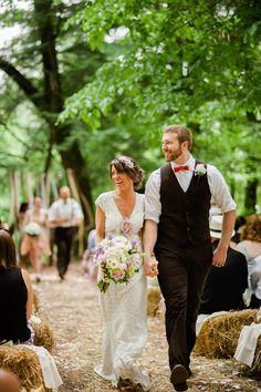 wedding dress groom vest and bow tie  boho wedding inspiration