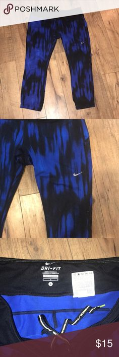 Nike Dri Fit Capri L Excellent used condition. Blue/black Capri pant. Large. Nike Pants