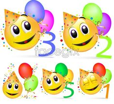 Free Download Cartoon Faces Vector File Include Smiley Face Balloon Golden Bow Colored Paper Flowers Arabic Numerals Picture