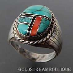 OLD PAWN NAVAJO ZUNI HOPI STERLING SILVER TURQUOISE JET SPINY OYSTER INLAY RING