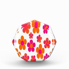 Eye catching Hot pink and orange floral acrylic award. #officeaccessory #hotpink