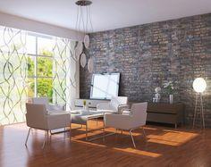 Wow, eleganter kann man sein Wohnzimmer nicht einrichten 😍 Die Vorhänge passen super zu der rauen Steinwand.     Das abstrakte Muster und die Kombination aus Milchglas-ähnlichem Stoff mit den klaren Elementen sind gradlinig und passen perfekt in jeden Wohnraum.    Hier entdecken >