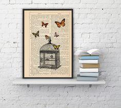 Wall hanging , Poster print Release the butterflies - Butterflies and cage dictionary art, dorm decor gift, wall art print BPBB025