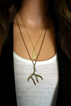 Antler & Feather Pendant Necklaces from Ava Adorn
