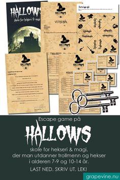 Et supermorsomt Escape game på Hallows skole for hekseri & magi, der man utdanner trollmenn og hekser i alderen 7-9 år. Først skal elevene skrives inn og sorteres i elevhus, så skal de gjennomføre åtte spennende skoletimer i Hallows hemmelige, låste kamre før de kan ta eksamen! #escapegame #halloween #halloweenfest #festleke #grapevine Halloween 2019, Halloween Costumes, Escape Games, Grape Vines, Escape Room, Decorations, Education, Makeup, Inspiration