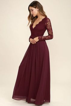 Awaken My Love Burgundy Long Sleeve Lace Maxi Dress! Crocheted lace elegantly graces the fitted bodice of this stunning dress, with V-neckline and sheer long sleeves. A sexy open back and banded, fitted waist sit above a romantic full length skirt. Prom Dresses Long With Sleeves, Grad Dresses, Evening Dresses, Long Sleeve Formal Dress, Long Formal Dresses, Dresses Dresses, Maroon Long Dress, Dress Prom, Prom Gowns