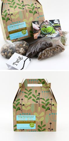 Made for One-Gallon Terrarium Kit Seed Packaging, Food Packaging Design, Brand Packaging, Eco Brand, Branding, Dot And Bo, Box Design, Projects To Try, Creative