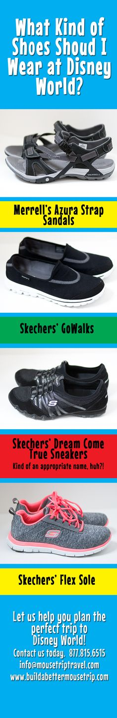 Here are some examples of comfortable shoes for women to wear when heading to Disney World. The most important thing is to give yourself plenty of time to break in new shoes before your trip - blisters are no fun, especially on vacation! For a list of ride closures and special events during your #Disney World vacation, see: http://www.buildabettermousetrip.com/crowds-closures-special-events/ #WDW #DisneyWorld