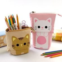 Cremallera Caja de Lápiz de Kawaii lindo Gato Caja De Lápices Niñas Regalo de Escritorio Del Estudiante Útiles Escolares para Niños Trousse Scolaire Stylo
