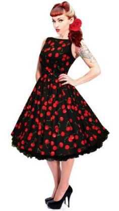 1950s 40s Black Cherries Swing Dress Vintage Rockabilly Party Wedding, Comes with matching Head Scarf, Exclusively made in the UK by British Retro: Amazon.co.uk: Clothing