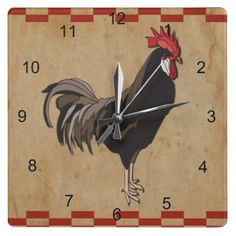 Rooster With A Red Checkered Border Wall Clock