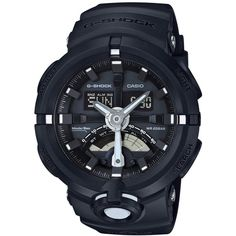 G-Shock Men's Analog-Digital Black Resin Strap Watch 49x58mm GA500-1A ($140) ❤ liked on Polyvore featuring men's fashion, men's jewelry, men's watches, black, g shock mens watches, mens analog digital watches, mens watches jewelry and mens watches