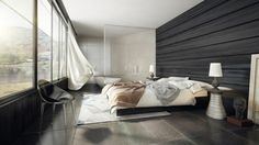 chambre à coucher moderne pour adulte avec déco murale en noir et verre
