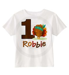 Turkey Birthday shirt with Thanksgiving Theme Turkey - Personalized 11052015a