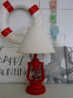 Vintage. Nautical Lantern Lamp. Lamp Shade. by searchnrescue2, $72.00 Lantern Lamp, Red Lantern, Nautical Lanterns, Nautical Bedroom, Cottage Style Decor, Water House, Coastal Decor, Coastal Living, Vintage Nautical