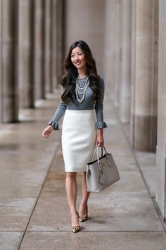 Ann taylor ruffle sleeve sweater  xxsp c/o (3 colors!),  J.Crew pencil skirt   Ann Taylor necklace  ( 10 ways  to style it) Halogen heels ...
